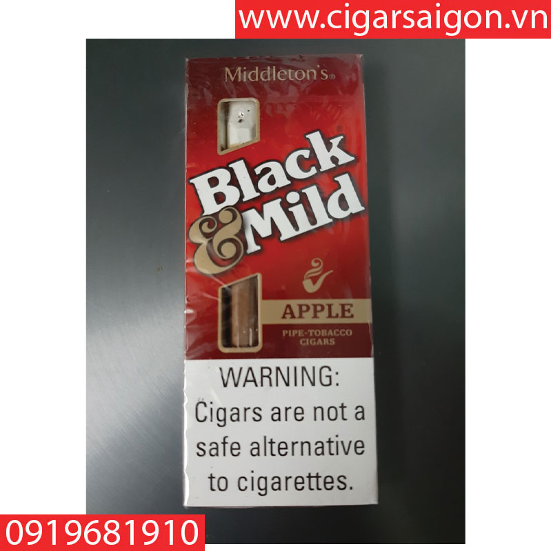 Cigar Black mild-USA apple box 5 sticks wood tip( xì gà sữa black mild apple hộp 5 điếu)